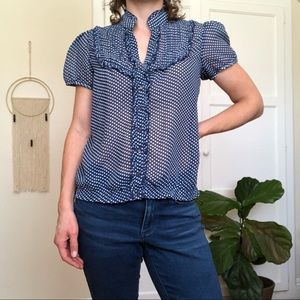 DownEast Polka Dot Ruffle Blouse
